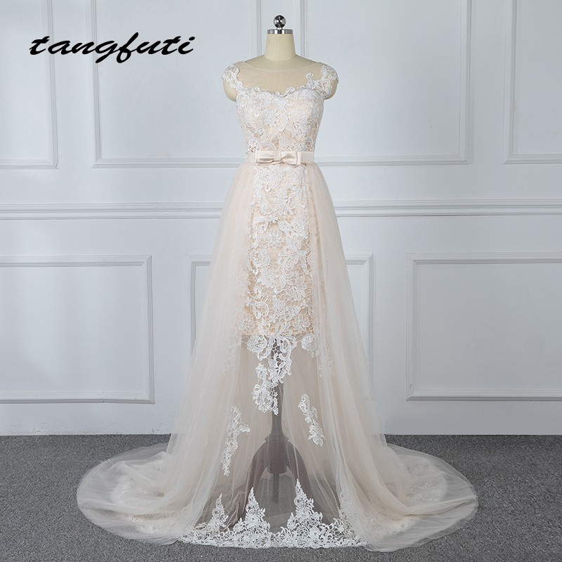 Détachable Dentelle Robes De Mariée avec Amovible Jupe Tulle Champagne Robes De Mariée De Mariage De Mariée Robe de Mariée Weddingdress 2018