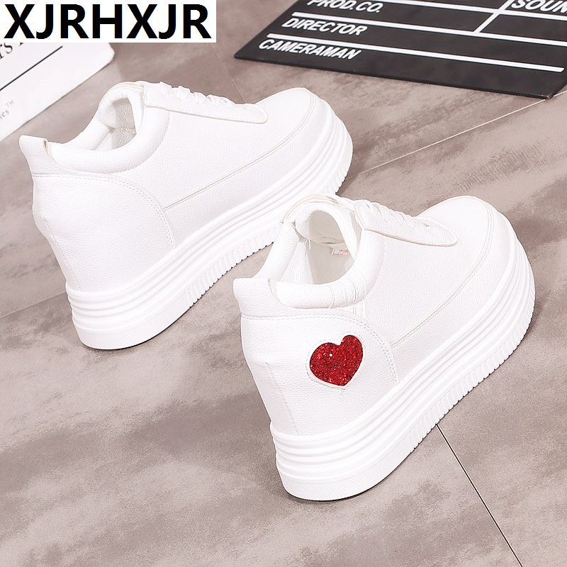 2018 Spring Autumn Sneakers Women Casual Shoes Lace Up White Leather 6cm Heels Shoes Woman Oxfords Platform Creepers Boat Shoes women oxfords flats shoes leather lace up platform shoes woman 2016 brand fashion female casual white creepers shoes ladies 801