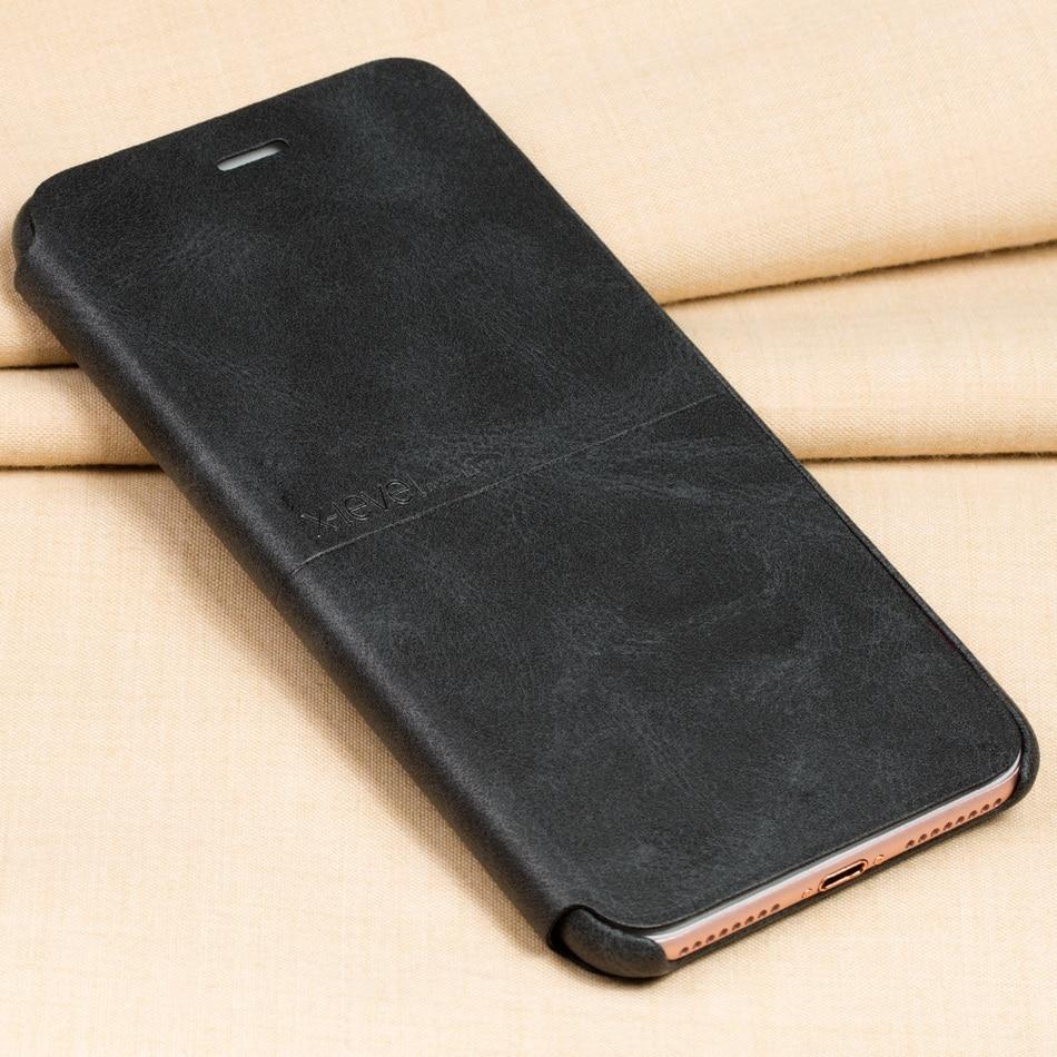 imágenes para X Nivel Nostalgia vaquero de Lujo Ultra delgada de cuero de LA PU Caja Del Teléfono Del Tirón para el iphone 7 plus, La Cubierta del soporte para el iphone 7 más caso