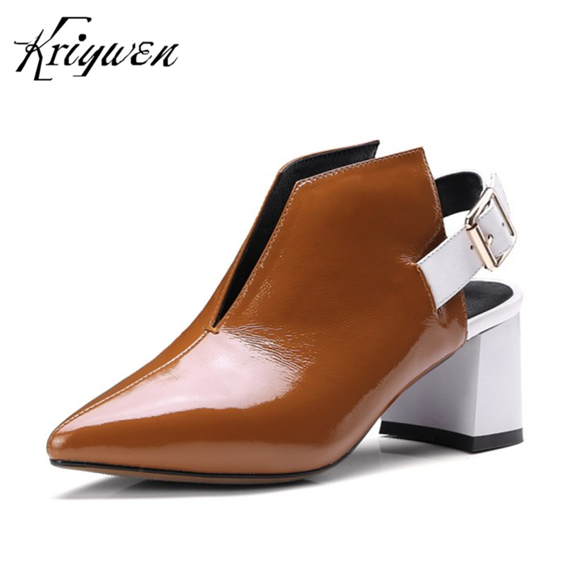 Brand Women Casual Shoes Genuine Leather Woman Pumps Party Office Career High Heels Lady Buckle Fashion Footwear Plus Size 33-42 egonery buckle strap faux leather thick high heels fashion style ladies party shoes women s shoe plus size woman pumps