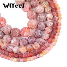 WLYeeS Red Weathered carnelian beads Natural Stone Round Spacer Loose Bead 6/8/10/12 mm for Jewelry bracelet Necklace making DIY