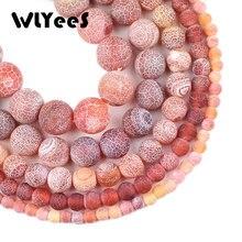 WLYeeS-Cuentas de cornalina color rojo, piedra redonda Natural, espaciador, cuentas sueltas, 6/8/10/12mm, para joyería, pulsera, fabricación de collares