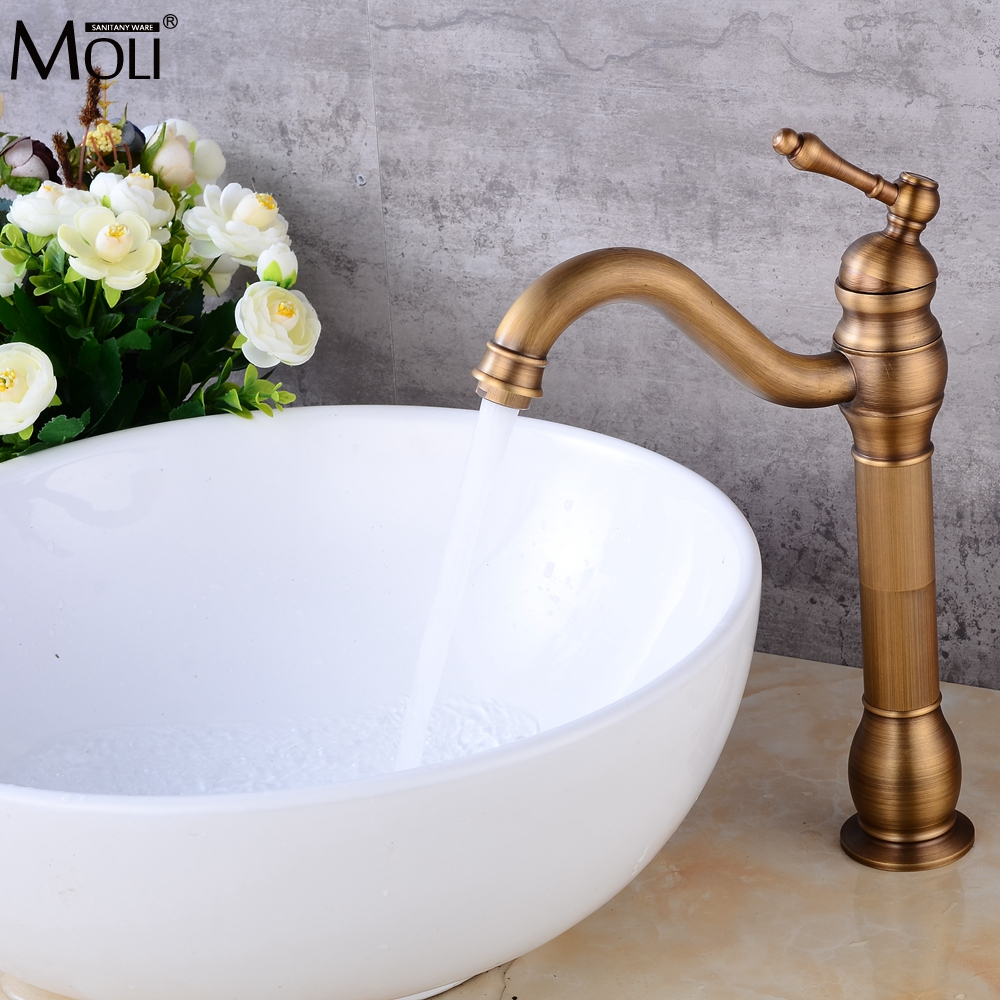 Deck Mounted Tall Antique Bronze Bathroom Basin Sink Mixer Tap Crane Hot and Cold Water Tall Faucets Deck Mounted Tall Antique Bronze Bathroom Basin Sink Mixer Tap Crane Hot and Cold Water Tall Faucets