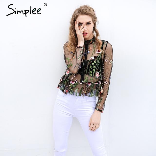 Simplee Black flower embroidery blouse shirt Women tops blouse chemise femme camisa Transparent long sleeve summer 2017 blusas
