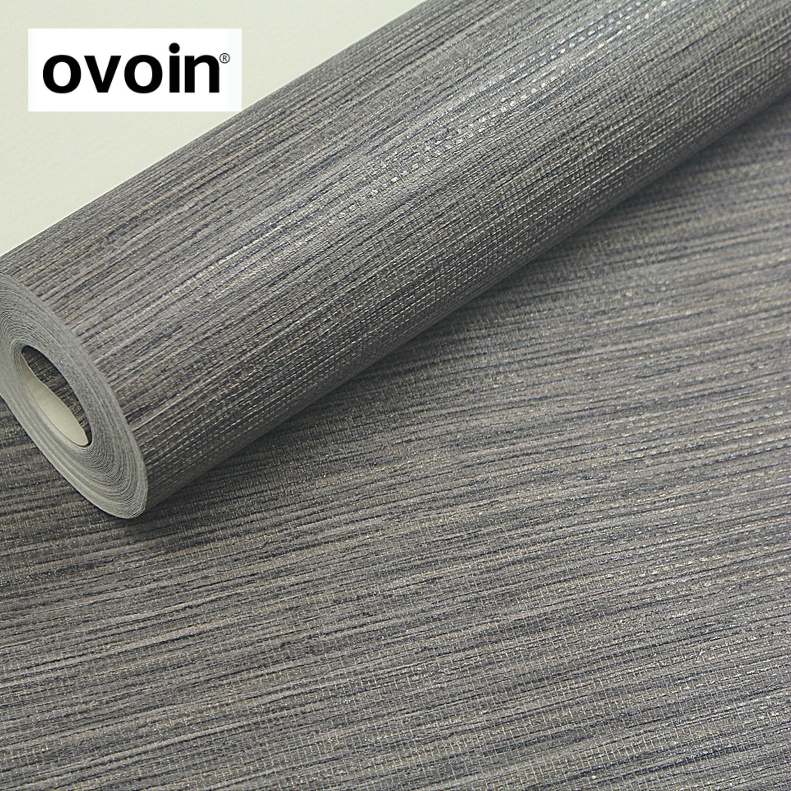 PVC Solid Color Grasscloth Textured Wall Paper Modern Dark Grey Wallpaper Roll Desktop Wall Papers