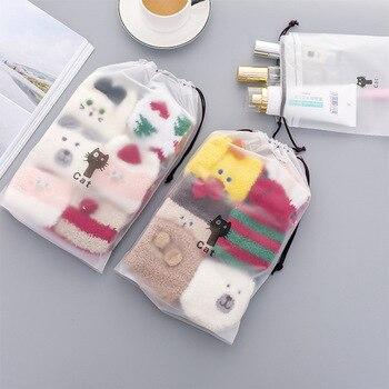 PURDORED 1 pc Cute Cat Transparent Cosmetic Bag Travel Makeup Bag Women Drawstring Make Up Organizer Storage Pouch Dropshipping 1