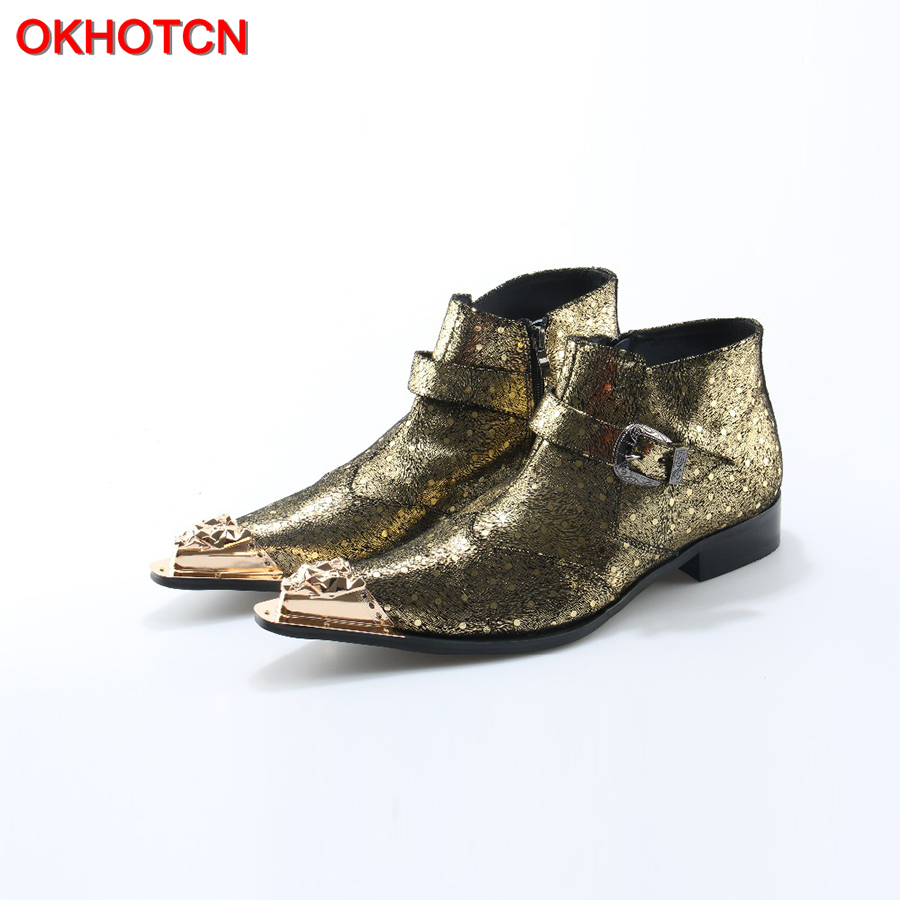 Fashion Metal Iron Pointed Toe Men Ankle Boots Spring Autumn Silk Botas Hombre Cowboy Buckle Zip Military Boots Prom Dress Shoes fashion men ankle boots spring autumn genuine leather shoes lace up botas hombre metal pointed toe cowboy military boots flats