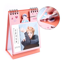 EXO 2018 Desktop Calendar Super Star Mini Picture Photo Album Fan Made Sticker Gift Collection 3 colors