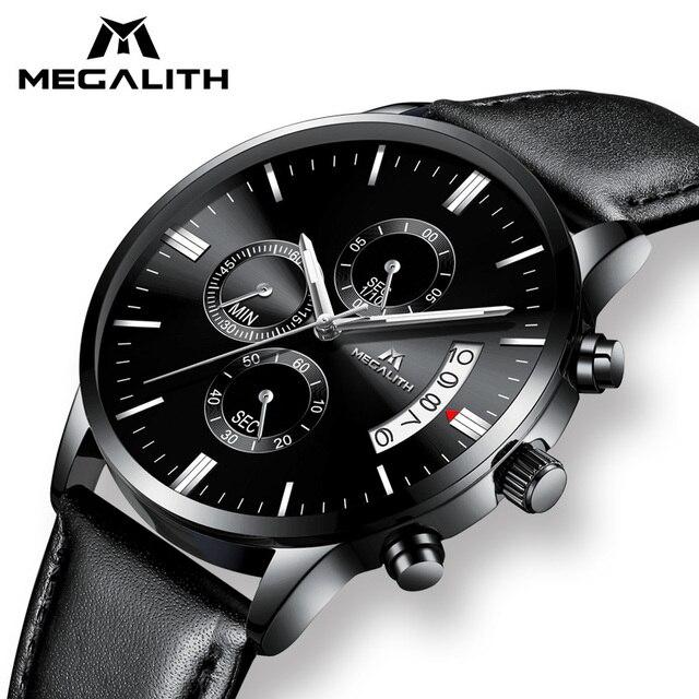 f3583874f344 MEGALITH Luxury Watch Men Sports Waterproof Chronograph Date Analogue  Wristwatch Gents Fashion Casual Black Leather Quartz Watch