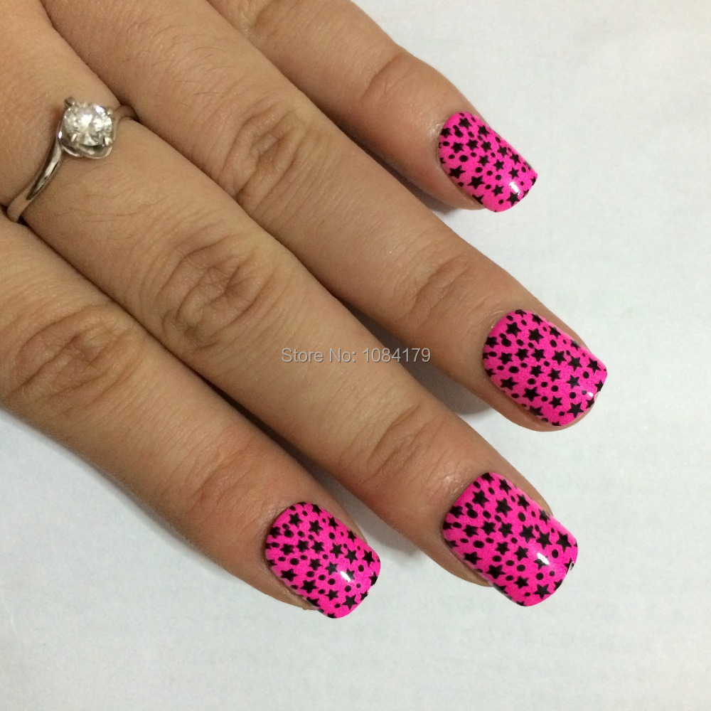 2015 Hot Black Star Designs Pink False Nail Art Tips Patch 3d Nails