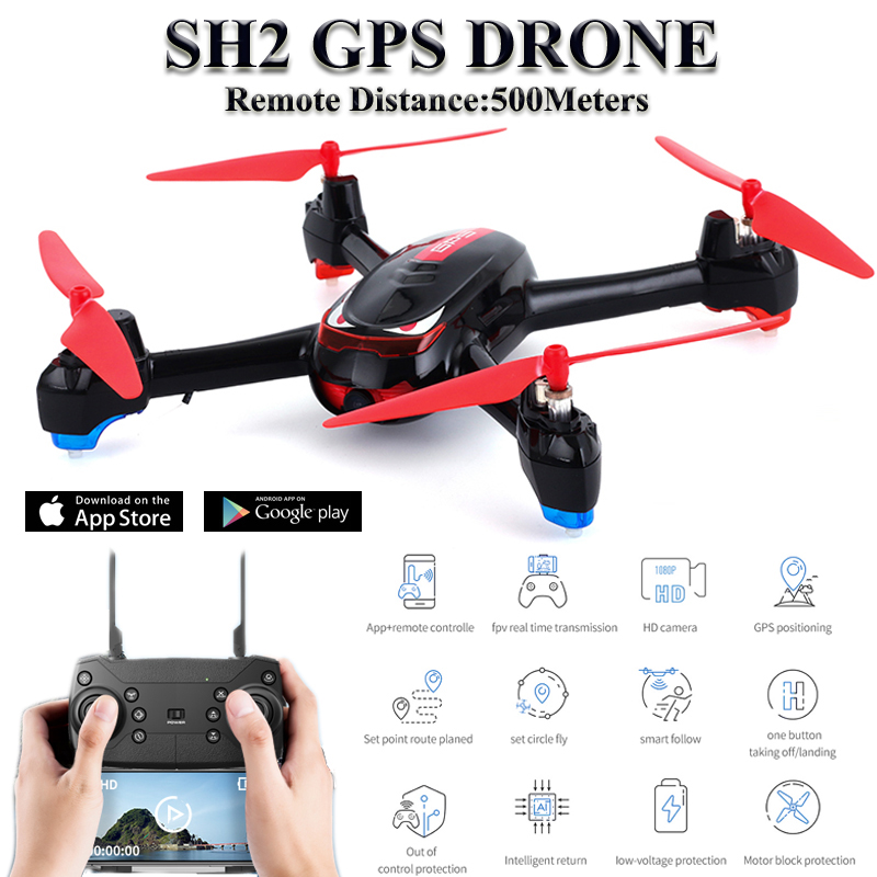 SH2 Quadrocopter Dron GPS RC font b Drone b font With Camera HD 1080P Wide Angle