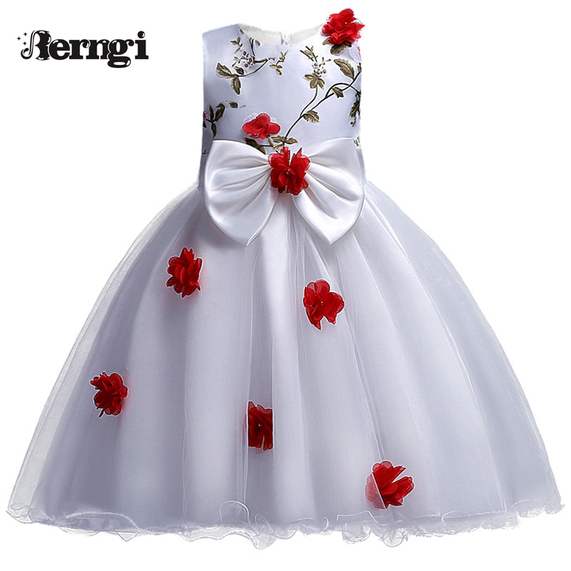 New Arrival Girls Dress Berngi Kids Princess Wedding Party Clothes for 3-12 Years Girls Children Sleeveless Prom White Clothes new arrival kids dress for girls clothes bowknot sleeveless lace children dress wedding party flower girl dresses 3 colors