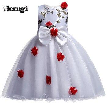 ee9dcd210 Nueva llegada Niñas vestido berngi niños princesa boda ropa de fiesta para  3-12 años Niñas niños sin mangas prom blanco ropa