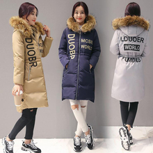 2016 New Fashion Winter Hooded Long sleeve Temperament Waisted Letter Print Thicken Long Coat Down Cotton