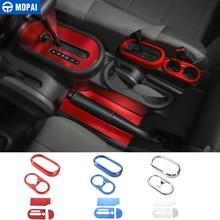 MOPAI Car Gear Pomello del cambio Pannello di Supporto di Tazza Della Cornice di Copertura Adesivi per Jeep Wrangler JK 2007-2010 Ca Interni decorazione Accessori