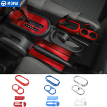 MOPAI Car Gear Shift Knob Panel Cup Holder Trim Cover Stickers for Jeep Wrangler JK 2007