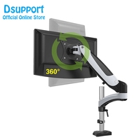 Aluminum Alloy Gas Spring Full Motion Grommet Mounting 15 27 LCD LED Monitor Holder Arm Flexible TV Mount Loading 0 8kgs