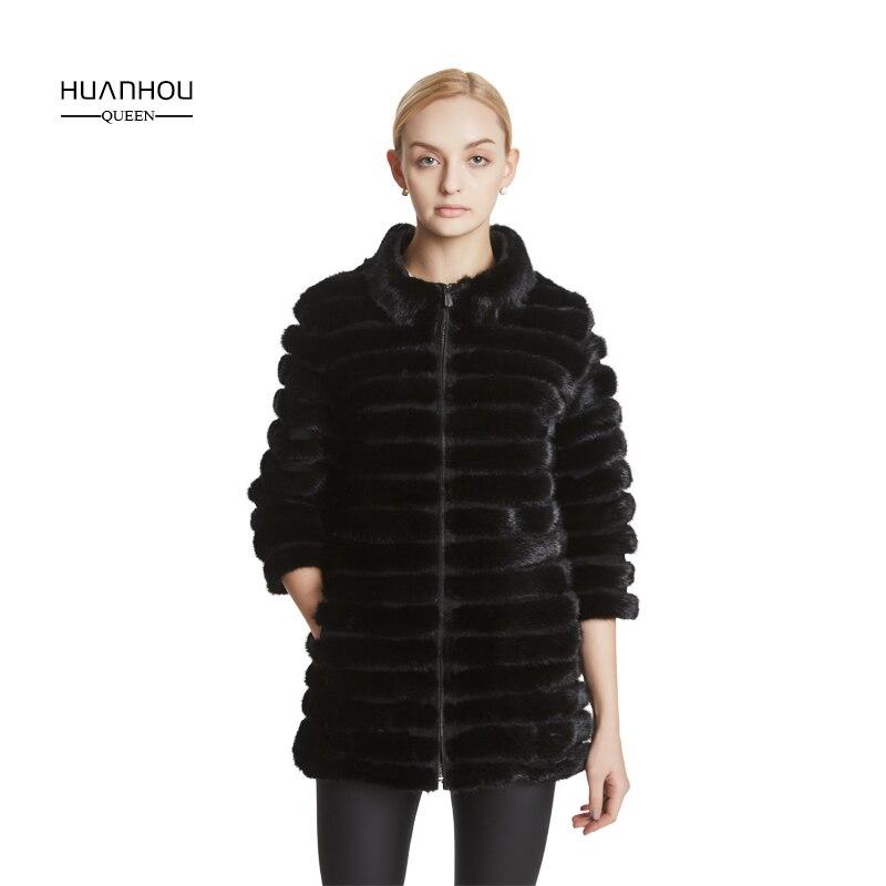 Huanhou queen réel vison fourrure manteau pour femmes avec col mandarin, hiver populaire chaud mode manteau extra grande taille.