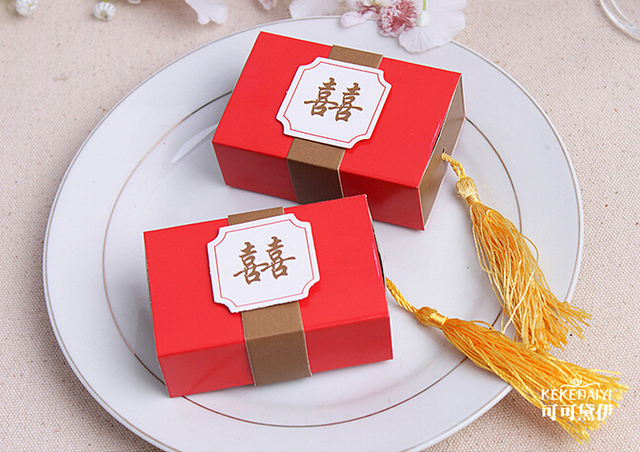 100setslotdouble Happiness Favor Boxes Customized Candy Box