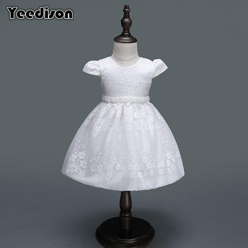 2018 Baby Girl Dress Newborn White Flower Princess Wedding Christening Gown For Baby Girl 1 Year Birthday Party Infant Dresses