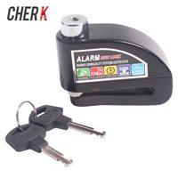 Cherk Motorcycle Black Aluminium Alloy Burglarproof Lock Waterproof High DB Alarm Safety Siren Lock Motorcycle Accessories