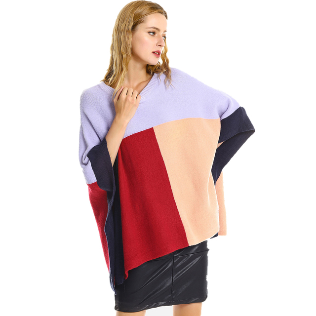 e5f0bca84119 Spring Color Block Oversized Women Sweater Round Neck Loose Knitwear Shawl  Cape Pullover Warm Soft Casual Jumpers Femme
