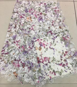 3D flower cut lace tulle fabric high quality french lace fabric wholesale dubai french lace for wedding party TS6629