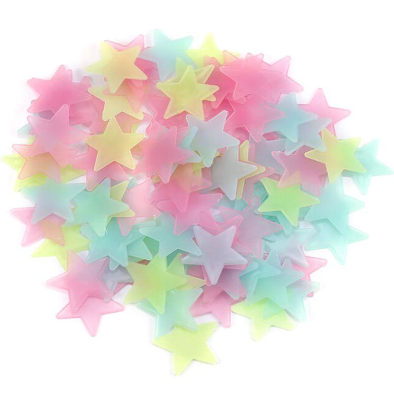 Nuevo 100 unids DIY Colorido Estrella Luminosa Parche Pegatinas de Pared Fluores