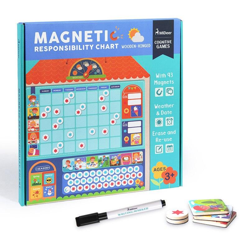 Bébé en bois magnétique récompense activité responsabilité graphique calendrier enfants calendrier jouets éducatifs pour enfants cible conseil