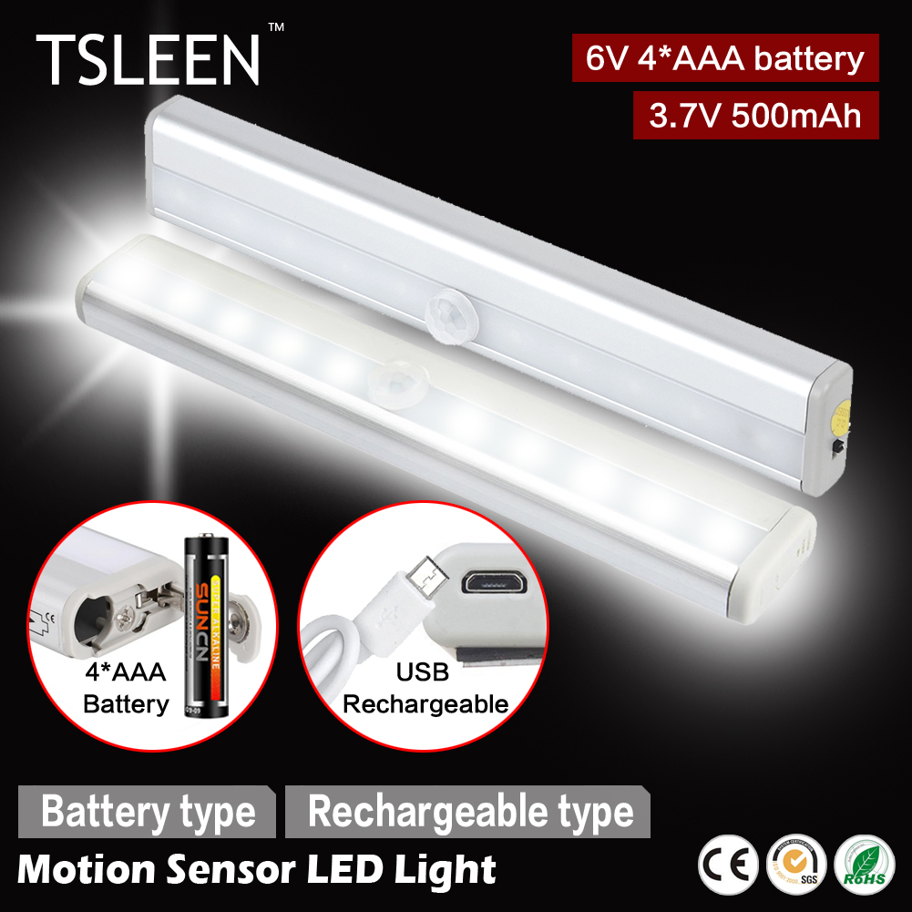 +Cheap+ Kitchen Closet Under Cabinet Basement Stick-on 10 LED Motion Sensor  Lights Cool