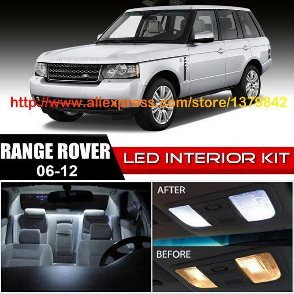 Free Shipping 14Pcs/Lot car-styling 12v Xenon White/Blue Package Kit LED Interior Lights For 06-12 Land Rover Range Rover