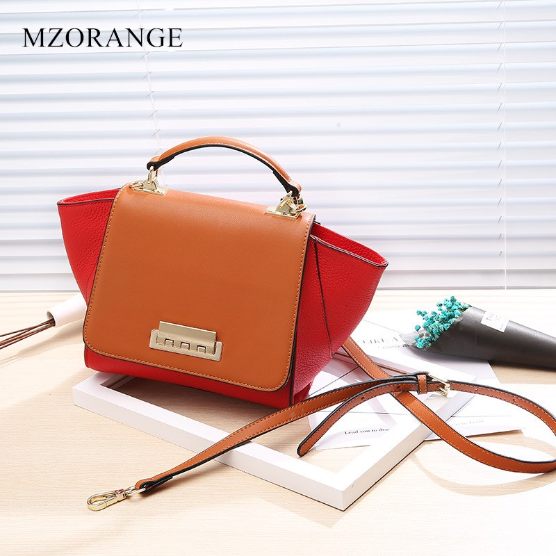 MZORANGE Genuine Leather Trapeze women Handbag Luxury Design Patchwork Casual Tote 2018 Fashion Lady Shoulder Bag Crossbody bags luxury genuine leather bag fashion brand designer women handbag cowhide leather shoulder composite bag casual totes