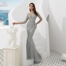 모조 다이아몬드가있는 이브닝 드레스 2020 구슬 장식 긴 소매 실버 골드 보트 넥 인어 긴 파티 드레스 정장 옆에 걸어