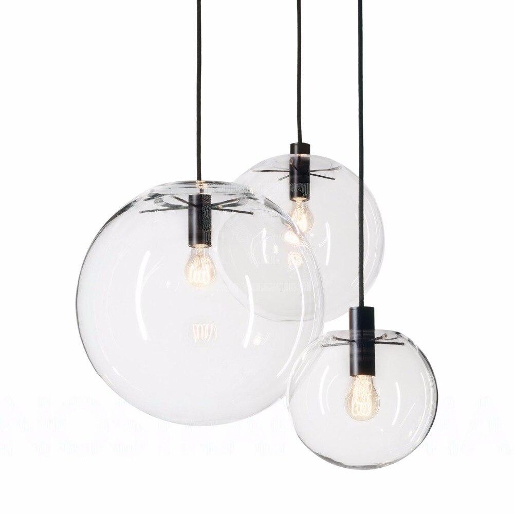 Modern Nordic Lustre Globe <font><b>Pendant</b></font> Lights Fixture Home deco Glass Ball <font><b>pendant</b></font> Lamp DIY E27 Suspension clear glass Hanging Lamp