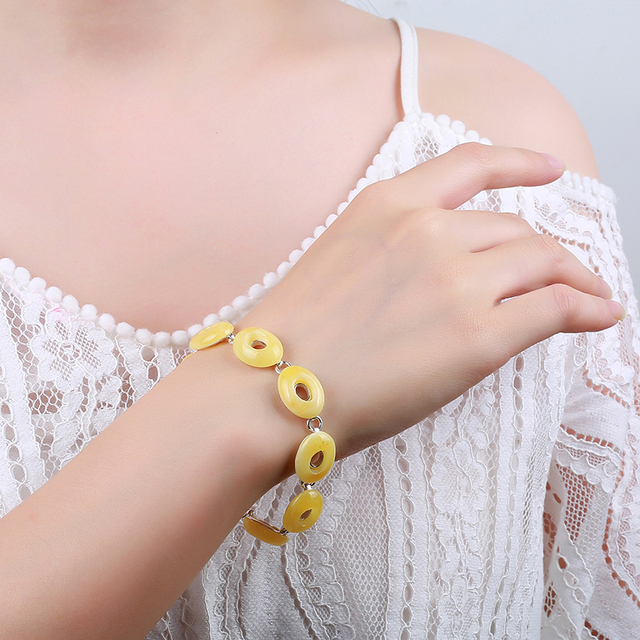 JIUDUO 100% Silver natural amber full of honey chicken yellow honey wax beads hand string old bees wax national wind bracelet