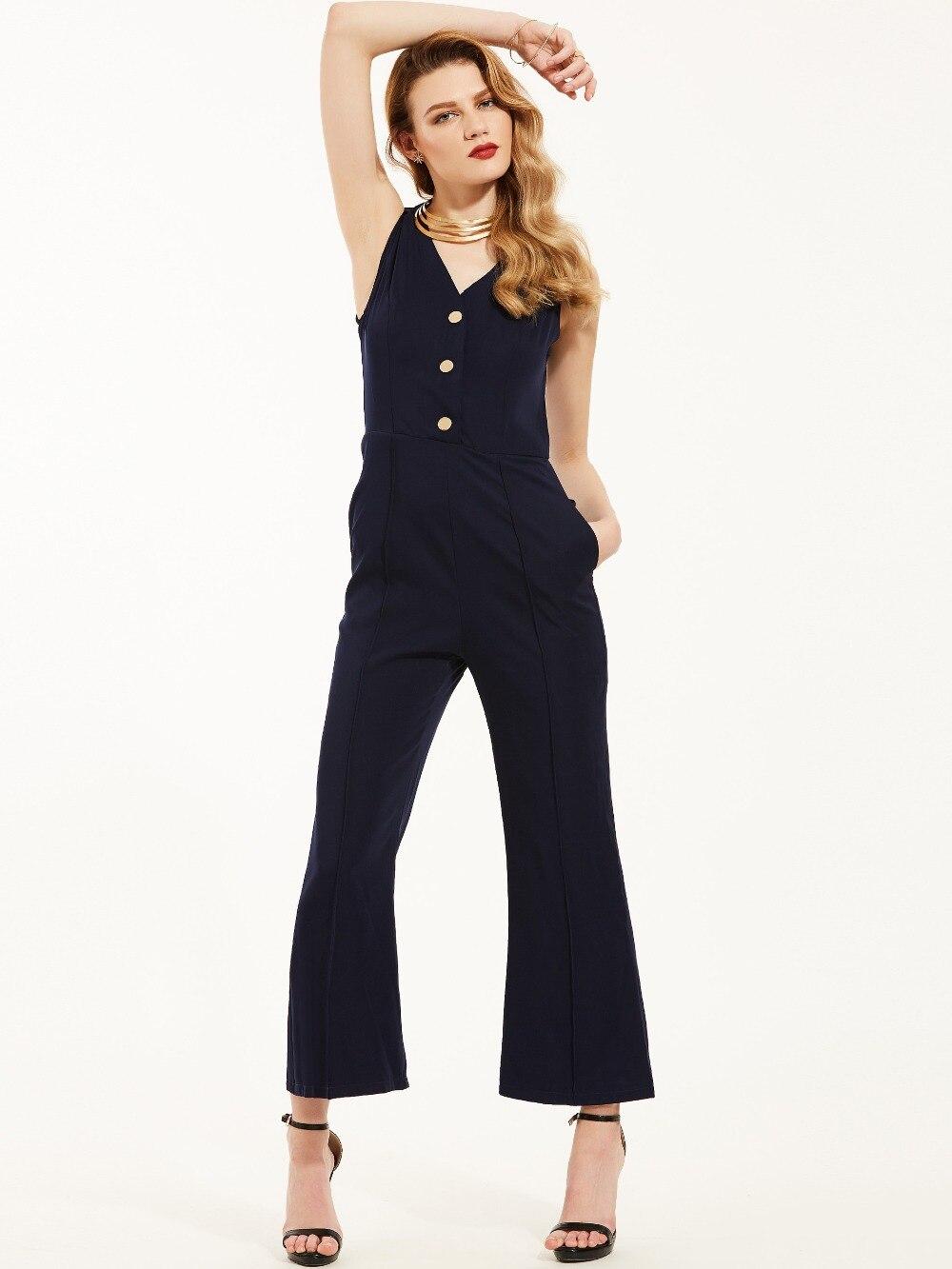 Fashion Office Lady One Piece Jumpsuit Elegant V Neck Button High Waist Wide Legs Pant Sleeveless Romper Women Jumpsuit