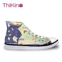 Thikin Book Arts High Top Canvas Shoes for Teenager Women Casual  Sneakers Female Lace-up Flats Espadrilles