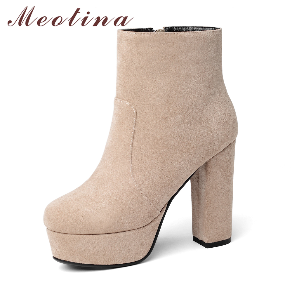Meotina Women Short Boots Extreme High Heels Ankle Boots Platform Winter Zipper Sexy 2018 Autumn Shoes Thick Heels Size 34-43 42 annymoli women boots winter platform extreme high heels boots sexy fashion boots red bridal wedding party shoes big size 33 43