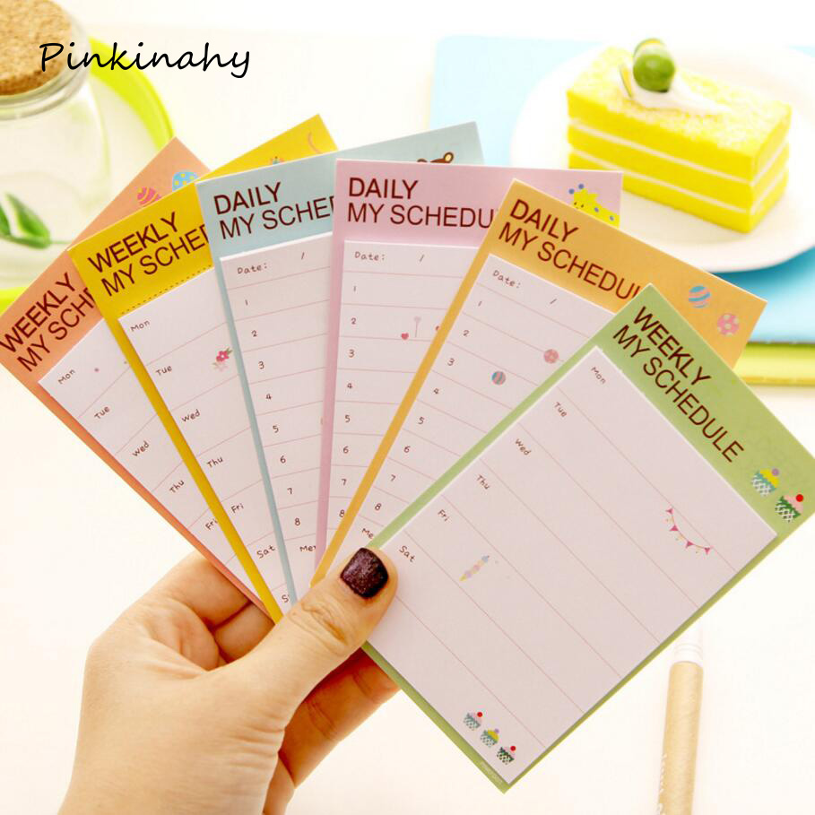 Memo Pads Kawaii Cute Weekly Plan Paper Scrapbooking Stickers Sticky Note Stationery School Supplies Memo Pad Papelaria Notebook Notepad