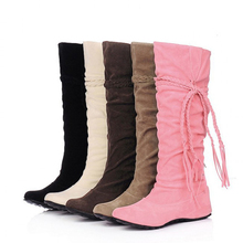 Women's Fashion tassel winter autumn boots cute tassels knee high long boots casual leisure wedge warm boots for ladies