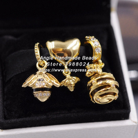 3pcs 2018 Spring S925 Sterling Silver Golden Plated Bee Charms Beads Jewelry Set Fit Europea Bracelets Necklaces Jewelry Making
