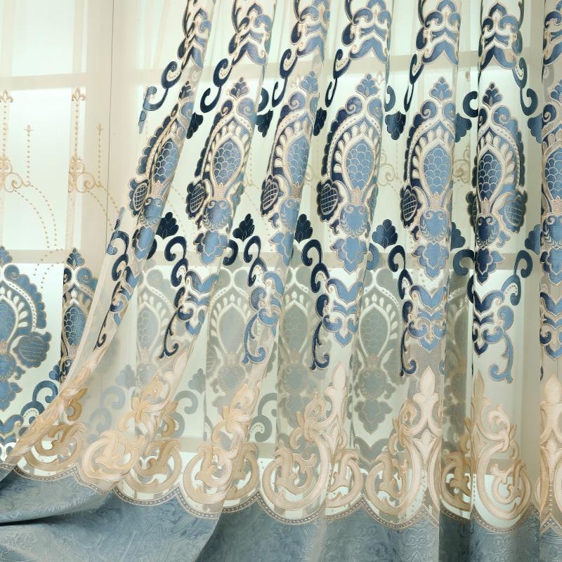 Avrupa yüksek dereceli Işlemeli perdelik kumaşlar lüks Polyester - Ev Tekstili - Fotoğraf 2
