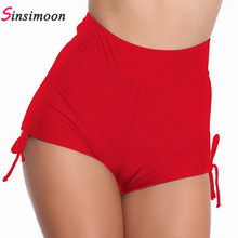 Women New Boxer SwimShorts Black Red Bathing Suit Beachwear Bandage Sole Swim Shorts High Waist Swimwear Swimsuit