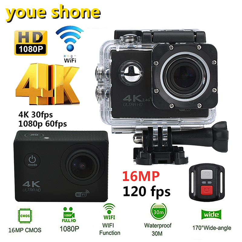 youe shone Action Camera 4K 30PFS 16MP WIFI Ultra HD Underwater Diving 1080P Camera Waterproof 170D Helmet bicycle Sports Cam