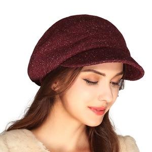 Image 3 - قبعة نسائية من الصوف الفرنسي FS قبعات مسطحة للخريف والشتاء قبعات نسائية كلاسيكية فيدورا تشابو فيمينينو Boina Mujer Invierno