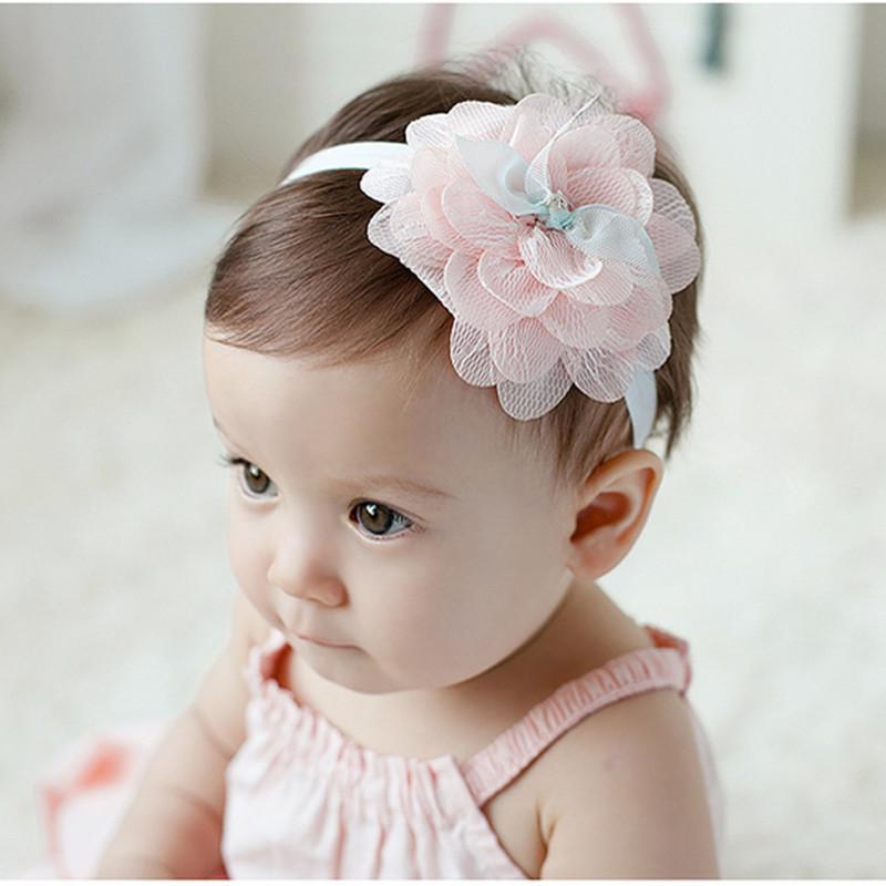free perfect affordable simple precioso beb recin nacido rosa diadema de  tela de malla de novia flor infantiles bautizo elasticidad with diademas  para bebes ... a7134229ca6