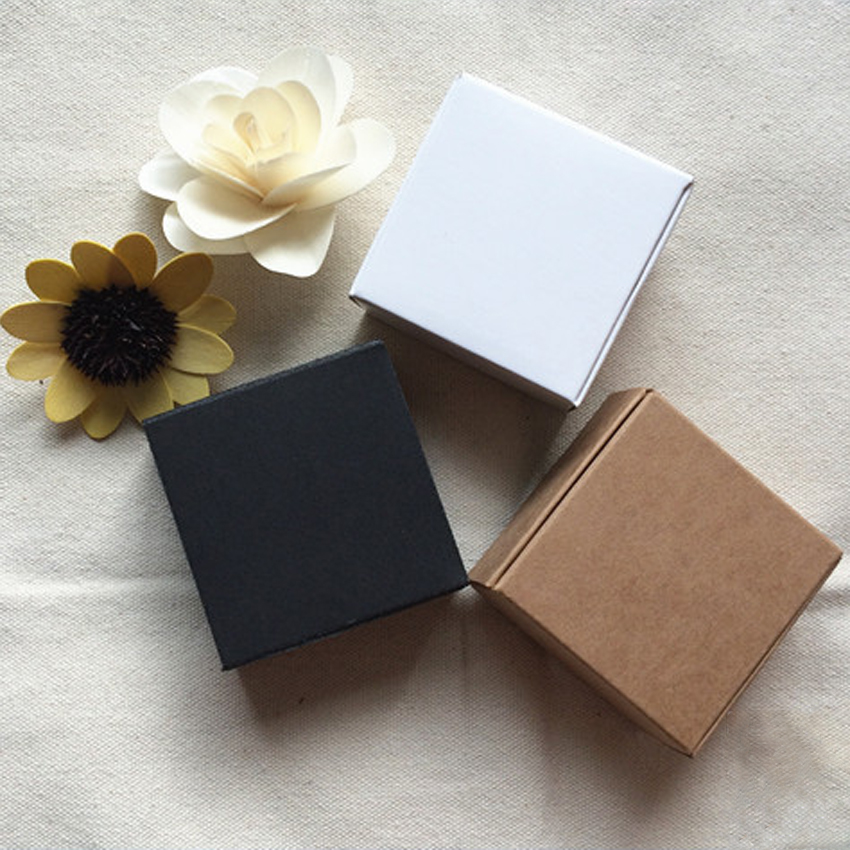 10pcs 9 Sizes DIY Gift White Black Kraft Paper Party Boxes Smart Little Craft Gift Fastener Ear Rings Aircraft Cardboard Box
