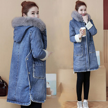 Denim Jeans Lamb Fleece Liner Women Jacket Fur Collar Hooded Medium-Long Female Parka Coat 2018 Winter Women Casual Overcoat
