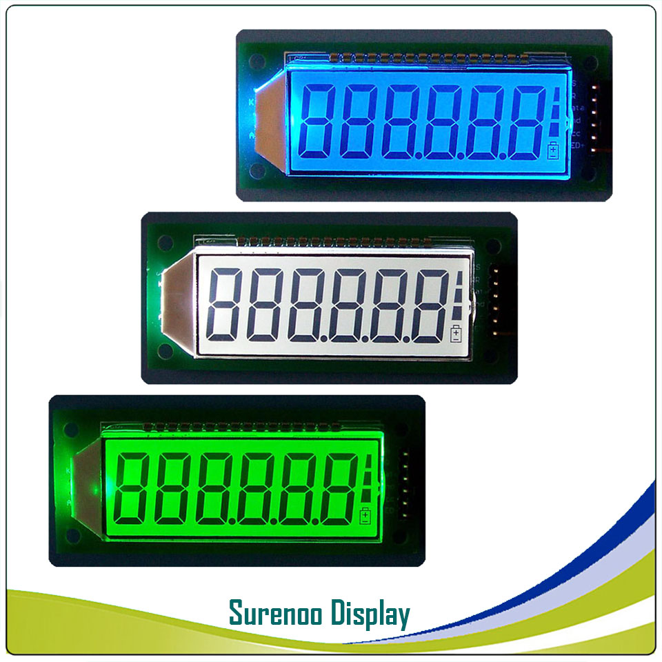 "6-Digit ""8 8 8.8.8.8"" 7 Segment Digital 5V  LCD Module Display Screen Panel Build-in HT1621 Controller W/ Backlight"