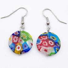10X Pair Millefiori Kaca Lampwork Murano Anting 18mm MODE campuran warna(China)
